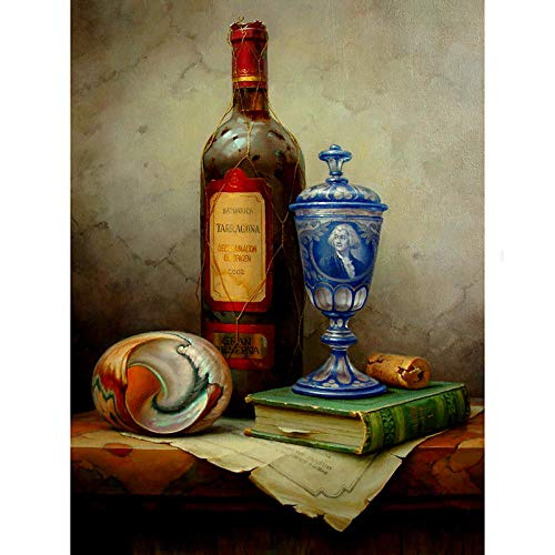 Digitale schilderset met genummerde kleuren, abstracte kunst, vintage, rode wijn, handbeschilderd, doe-het-zelf, linnen, interieurdecoratie, beste cadeau SDHJMT 20x24inch