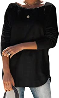 GRMO Womens Casual Shirt Pullover Plain Long Sleeve Loose Fit T-Shirts Top Blouse