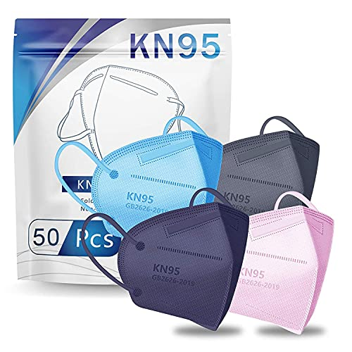 Hotodeal KN95 Face Mask 50 PCS, Filter Efficiency≥95%, 5 Ply Mask Against PM2.5