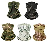 5 Pack Neck Gaiter Balaclava Bandana Headwear Face Cover Mask Headband for Women Men