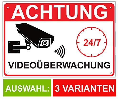Videoüberwachung Schild Video Alu 30x20cm Achtung Videoüberwacht Videoschild für Baustelle & Grundstück mit Bohrung