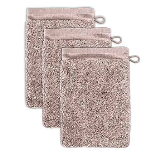 möve Superwuschel Waschhandschuh 15 x 20 cm aus 100% Baumwolle, cashmere 3er Set