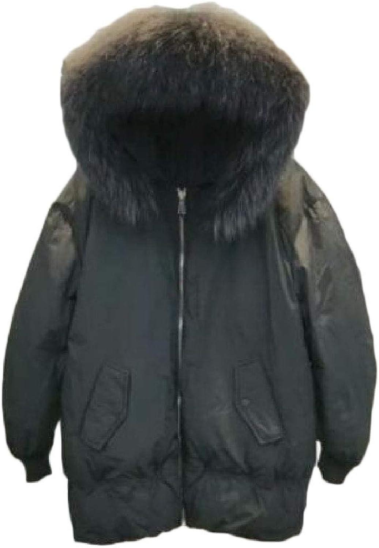 Esast Womens Down Coat LongSleeve Solid color Bread Jacket Faux Fur Hoodie