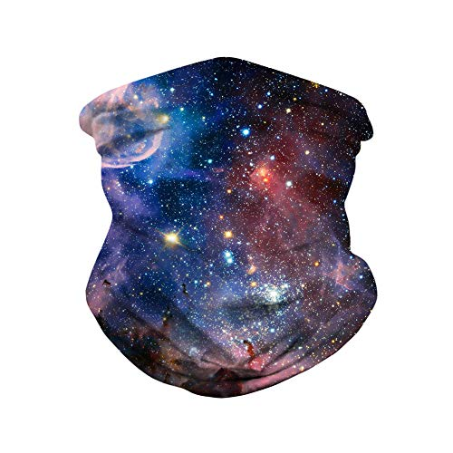 3D Face Scarf Galaxy Neck Gaiter Starry Sky Neck Tube Colorful Bandana