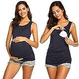 UNibelle Débardeur Maternité 2 Pics Tops d'allaitement sans Manche T-Shirt de Maternité Haut d'allaitement S-XXL