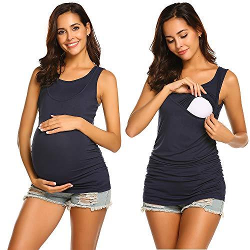 UNibelle Camiseta de lactancia con función de lactancia, ligera, de manga corta, para embarazadas, para embarazadas, de maternidad A_azul marino. S