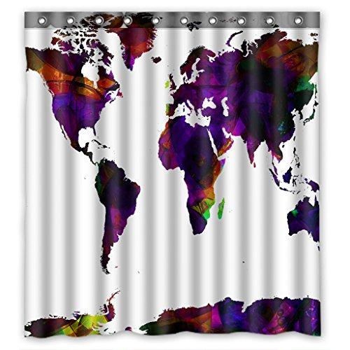 GCKG Abstrakte Kunst Weltkarte Duschvorhang 167,6x 182,9cm Wasserdicht Polyester Stoff Vorhang für die Dusche