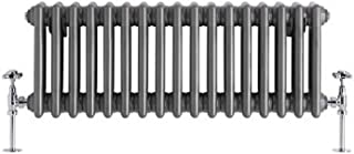 Hudson Reed - Regent - Traditional Cast-Iron Style Raw Metal Lacquered Horizontal 3-Column Radiator - 11.75'' x 30.25''