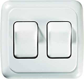 RV Designer S533, Contoured Wall Switch, White, Double, On/Off