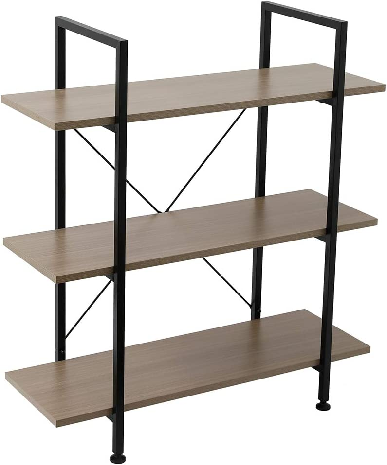 JIAD 3-Tier Bookshelf San cheap Jose Mall Industrial Bookcase Metal with F and Wood