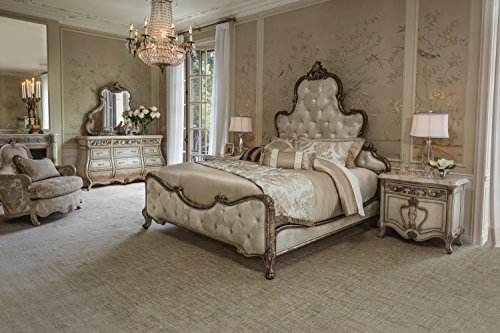 Platine de Royale Champagne 4pc Queen Panel Bedroom Set by Aico Amini