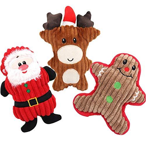 Christmas Dog Squeak Toys , 3 Pcs Legendog Puppy Chew Toys Soft Dog Toy Squeak for Small Medium Dog Pets