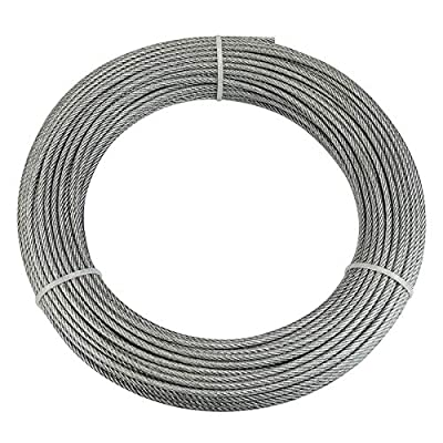 """Muzata Wire Rope Crystal Vinyl Coated Stainless Steel 1/8"""" Cable 165 Feet for Railing Decking Stair Balustrade Dog Run Clothes Lines Outdoors DIY,7x7 Strand WR09,Series WP1 WC1"""