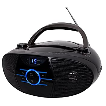 Jensen Portable Bluetooth Cd Player AM/FM Radio Tuner Mega Bass Reflex Stereo Sound System Plus Superior 6ft Aux Cable to Connect Any Ipod Iphone or Mp3 Digital Audio Player