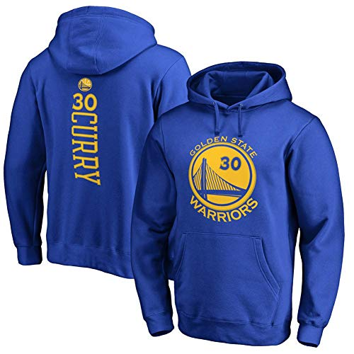 Männer Jersey NBA Golden State Warriors 30# Stephen Curry Basketball Hoodie Geeignet für Training/Freizeit/Sport/Fan Versammlung,Blau,M