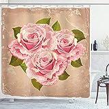 ABAKUHAUS Rose Rideau de Douche, Rose Bouquet de Fleurs, Tissu Ensemble de Décor de Salle de Bain avec Crochets, 175 cm x 180 cm, Tan Rose pâle Vert