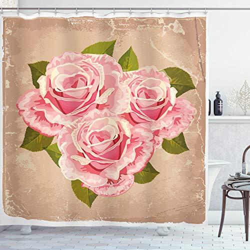 ABAKUHAUS Rose Duschvorhang, Rosa Blumenstrauß, mit 12 Ringe Set Wasserdicht Stielvoll Modern Farbfest & Schimmel Resistent, 175 x 200 cm, Tan Hellrosa grün