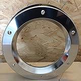 Ojo de buey para puerta de acero inoxidable brillante, 350 mm de diámetro, vidrio transparente, tuercas de collar