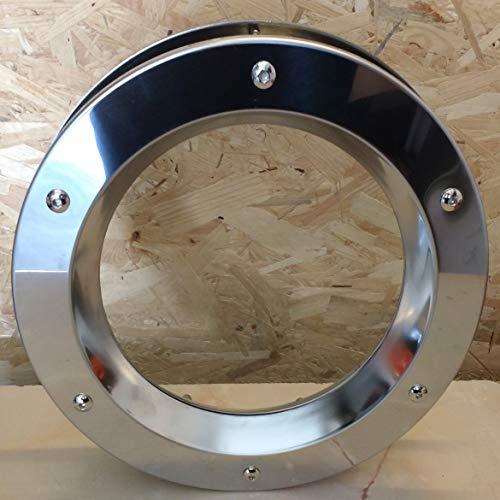 Ojo de buey para ventana de acero inoxidable brillante 350 mm con tuerca de cristal transparente