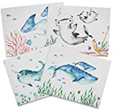 Twigs Paper - Baby Shower Note Cards - Ocean Themed - Set of 12 Blank Cards (5.5 x 4.25 Inch) with 12 Envelopes - 100% EcoFriendly Stationery - Made In USA (6 Designs, 12 Cards Total)