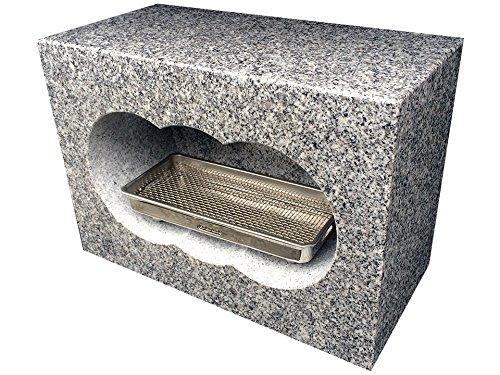 国産白御影石(真壁石) 角型 香炉 4面磨き サイズ約幅30×奥行15×高さ21cm 国産(茨城県産)の白御影石(真壁石)を茨城県の自社工場で加工しました。 【空気穴加工】 【ステンレス受皿付】