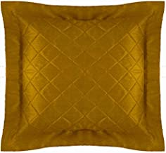 Cushion Cover Quilted Decorative Bed Throw Pillowcase Metallic Gold Polyester with Flange Removable Cover, Insert not Incl...