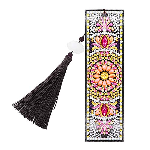Bookmark Magnetic, 5D DIY Diamond Painting Round Plate Leather Bookmark Ornaments with Tassel, for Valentine's Day, Graduation, Birthday