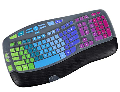 Ultra Thin Keyboard Cover for Logitech K350 Wireless Keyboard & Logitech MK570 MK550, Logitech K350 MK570 MK550 Keyboard Cover - Rainbow