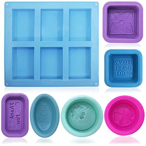 FineGood - 13 moldes de silicona suave de grado alimentario para jabón casero, manualidades, cupcakes, magdalenas,, de color azul, rojo rosa, morado, verde