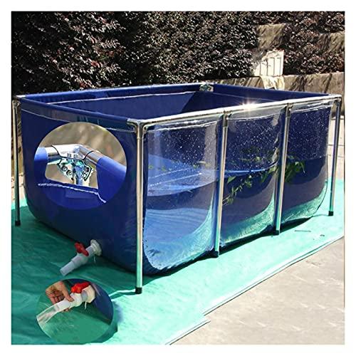 XYUfly20 Edelstahlhalterung Fisch und Turtle Teich verdicktes Leinwand Pool All Inclusive Edelstahl-Dreieck durch hohe Tragfähigkeit (Color : Blue+Clear, Größe : 100x70x61cm)