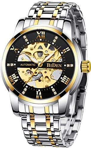 Relojes Hombre Reloj Mecánico Automático Impermeable Oro Relojes de Pulsera de Acero Inoxidable Luminosos Analógico Relojes