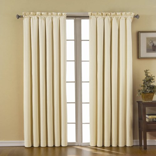 """ECLIPSE Blackout Curtains for Bedroom-Canova 42"""" x 63"""" Insulated Darkening Single Panel-Rod Pockets Window Treatment Living Room, Ivory"""