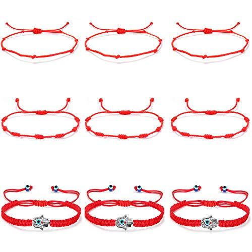 CASSIECA 9 Piezas Kabbalah Pulsera de Cuerda Roja para Hombres Mujeres Trenzado Pulsera de Cuerda Trenzada Mal de Ojo Hamsa Pulsera Ajustable