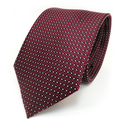 TigerTie Corbata de seda de diseño con lunares estampados, ancho de corbata de 8 cm., Rojo, burdeos, plata, negro, Talla única