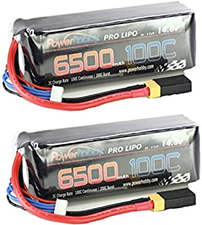 Hobbypower Powerhobby 4s 14.8v 6500mah 100C-200C Lipo Battery w XT60 Plug + Traxxas Adapter (2) for Traxxas X-Maxx 8S