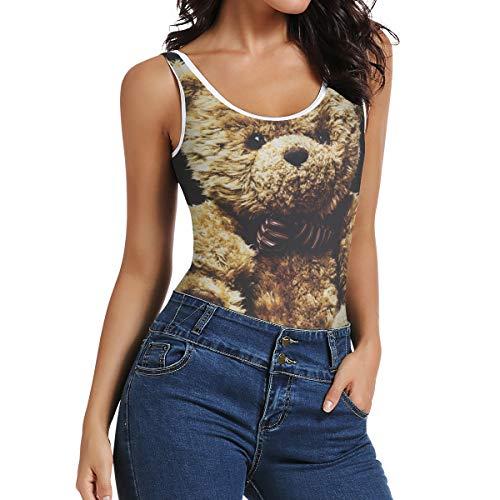 Montoj Damen-Body / Jumpsuit, ärmellos, Teddybär-Design Gr. XS, multi