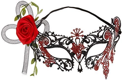Smiffys Masque pour les yeux filigrane métallisé Jour des morts, Noir, avec roses