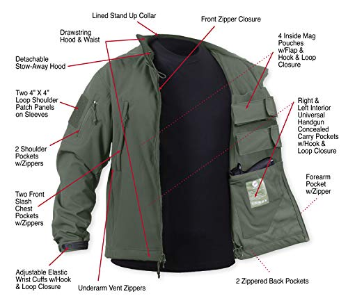 Rothco Special Ops Concealed Carry Tactical Soft Shell Jacket, Olive Drab, 2XL