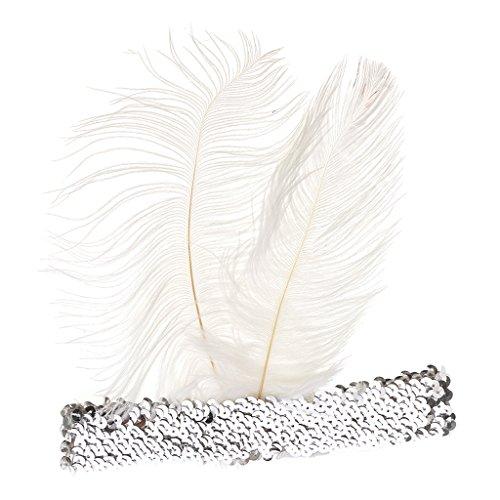 MagiDeal Flapper Bandeau Vintage Headband Charleston Paillette Accessoire Costume Cabaret Mascarade - Blanc