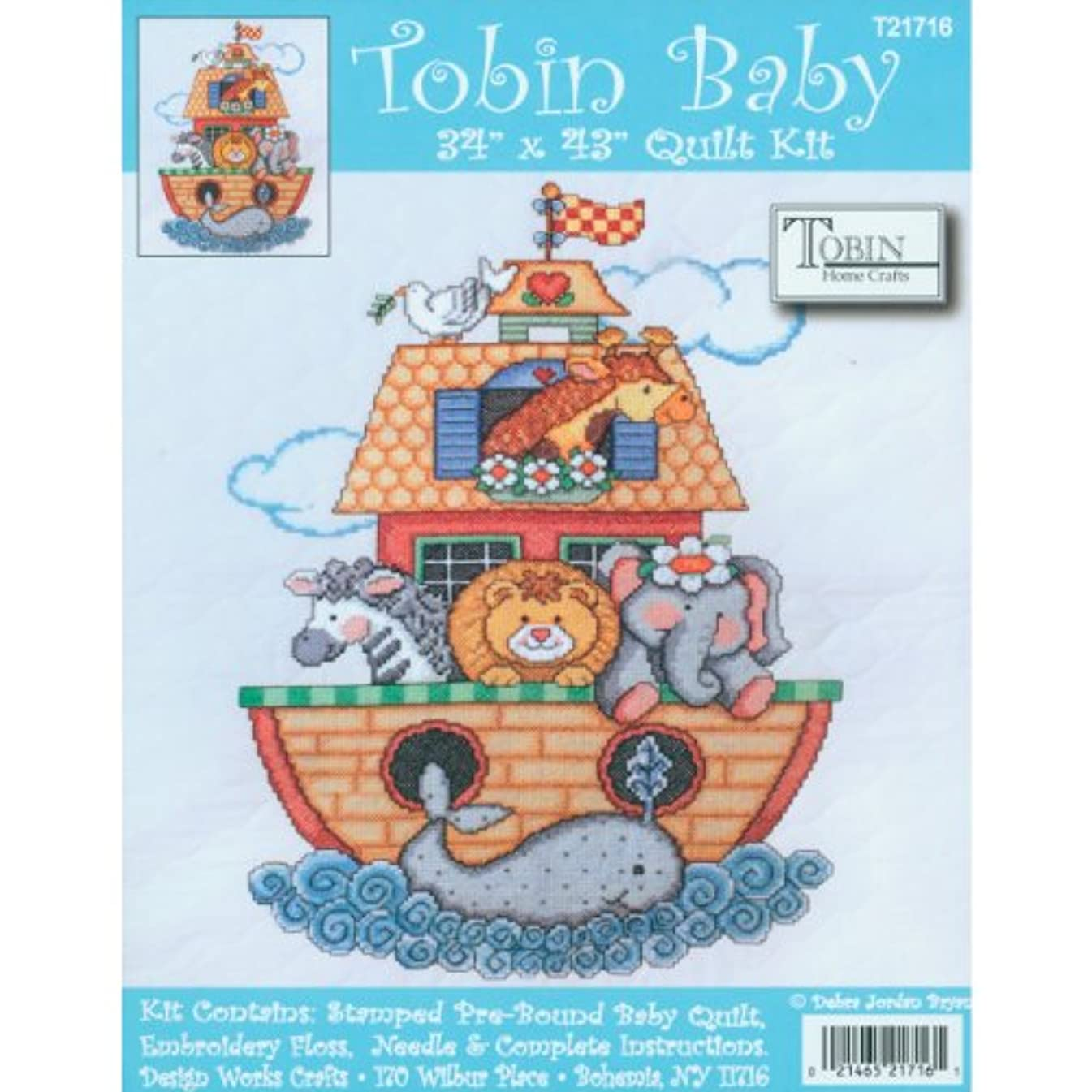 Tobin Noah's Ark Quilt Stamped Cross Stitch Kit, 34 by 43-Inch