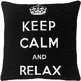 || Jaaz tessile || _ _ Black & White Keep Calm and relax _ _ puro 100% cotone per cuscino, dimensioni 45,7x 45,7cm nascosta cerniera di apertura. Acquistare singolo o set., 100% cotone Cotone, Black & White Keep Calm Relax, Unità singola