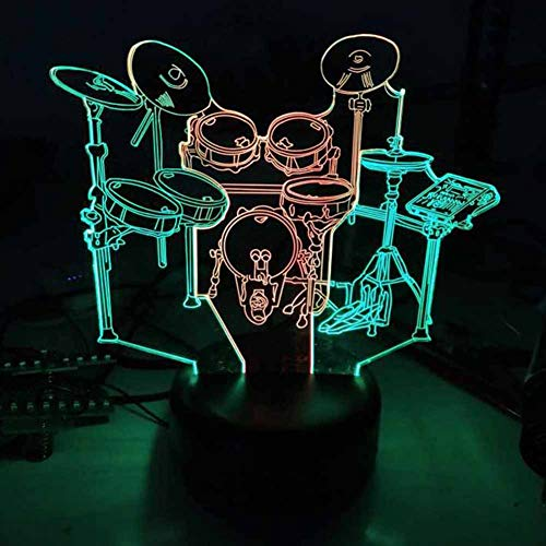 CHENG Lampe de Table 3D Illusion d'optique de Bureau Drum 7 Lampe de Chevet ChangeChildren's
