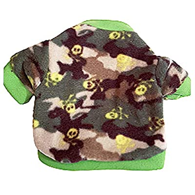 "Pretty Pampered Pets XXXS XXS XS Small Tiny New Teacup Chihuahua Clothes Clothing Puppy Dog Toy Breeds Hoodie Green Skulls Cosy Coat (XS- 8.5"" - Suit XXS puppies ONLY, Green Skulls)"
