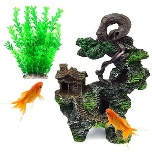 katnson Mountain View Aquarium Decoration Fish Tank Resin Ornament Hidden Tree House Rock Cave for Betta, Shrimp