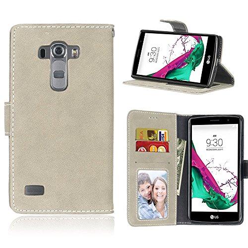 Janeqi für LG G4S/LG G4 Beat Hülle - Vintage mattierte Ledertasche aus Leder mit Anti-Fall-Kartentasche Schutzhülle Cover - H5/grau