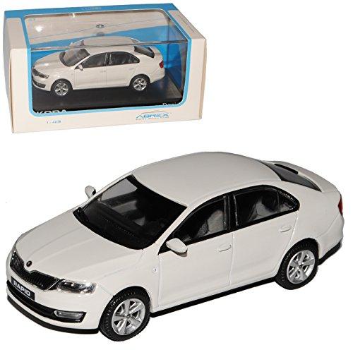 Abrex Skoda Rapid Limousine Candy Weiss Ab 2012 NH 143AB022E 1/43 Modell Auto mit individiuellem Wunschkennzeichen