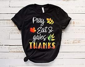 TLUTEE - Pray Eat Thankful Pumpkin - Thanksgiving Shirts For Women For Men - Family Thanksgiving T-Shirts - Thanksgiving Outfit - Funny Thanksgiving Shirt Gift