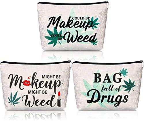 3 Pieces Makeup Bags Funny Marijuana Weed Leaf Cosmetic Bag Might Be Makeup Bag Multipurpose product image