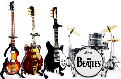 The Fab Four Miniature Guitar and Drum Set