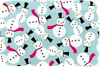 EGGDIOQ Doormats Snowmen Fuchsia Scarf Pattern Custom Print Bathroom Mat Waterproof Fabric Kitchen Entrance Rug, 23.6 x 15...